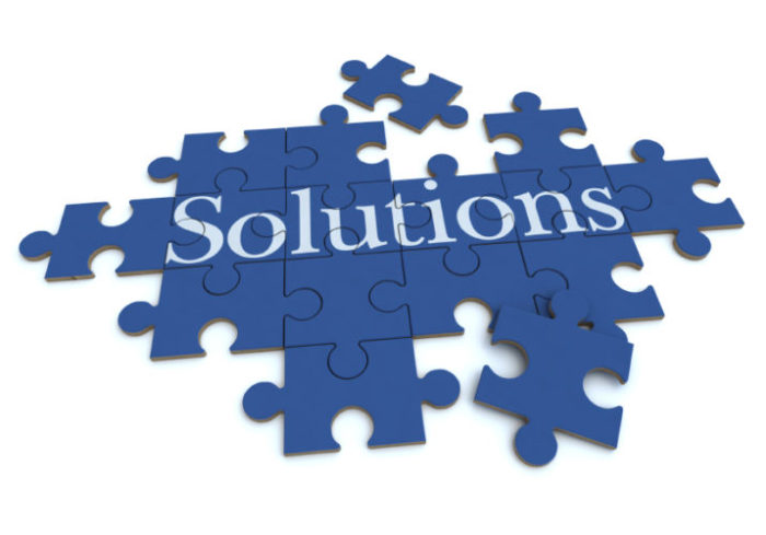 Solutions puzzle in blue